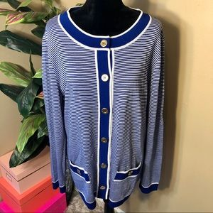 NWOT St. John Blue and White Santana Knit Cardigan